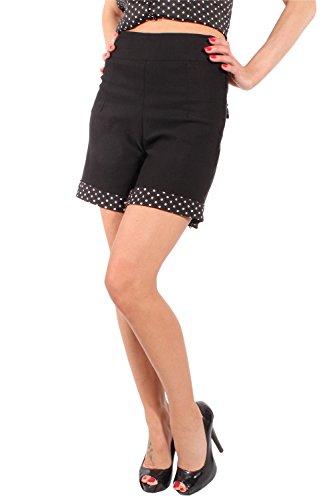 SugarShock Damen Retro high waist rockabilly Hot Pants POLKA DOTS Shorts Hose Schwarz Schwarz