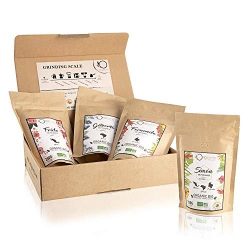 BIO Kaffeebohnen Probierset | Arabica Kaffee Ganze Bohnen Set 4x250g | Traditionelle Röstung