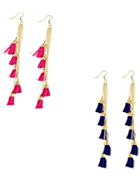 Aradhya Pink and Blue Tassel Combo Hook Long Earrings for Women