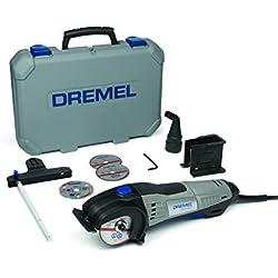 Dremel DSM20 - Scie Compacte Circulaire 710W, 17.000tr/min, Kit avec 4 Disques et 4 Adaptations pour Tronçonner dans le Bois, le Métal, le Plastique et le Carrelage
