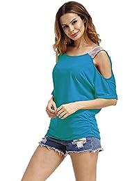 Chemise Epaule Denudee Femme Asymetrique Tunique a Volant T-Shirt Col  Bateau en Lâce de 2cccaa78800