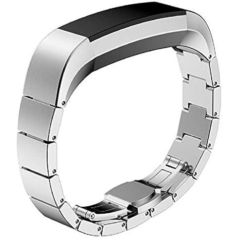 Fitbit Alta Pulsera, Sannysis Fitbit Alta Reemplazo Banda de Acero inoxidable (plata)