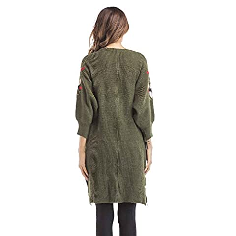 Babysbreath Femmes Cardigan Sweater Foral Embroidered 3/4 Lantern Sleeve Loose Mid Long Autumn Coat armée verte M