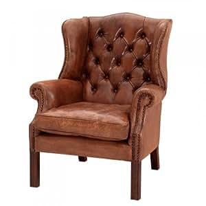 casa padrino luxus echtleder ohrensessel chesterfield vintage braun sessel mit echtem leder. Black Bedroom Furniture Sets. Home Design Ideas