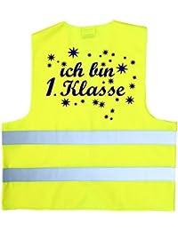 Ich bin 1. Klasse ! Kinder Warnweste zur Einschulung Schulanfang ABC Schützen Gr. XS 120-140 cm oder S 152-160 cm Sicherheitsweste Neongelb und orange Neon