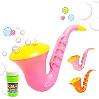 Baokee Children Creative Design Saxophone Bubble Toys Bubble Blower Machine Toy For Kids Summer Outdoor