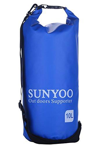 SUNYOO Top rate 100% Impermeabile Borse asciutte 5L 10L Sacchetto di spalla per il nuoto,Fare surf,Pesca,Canottaggio,Sciare,Canottaggio Blu