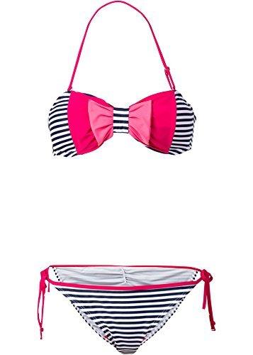 Damen Bandeau Bikini mit Schleife (2-TLG. Set), 168697 in Blau/Weiß, für Cup A & 38 (75)