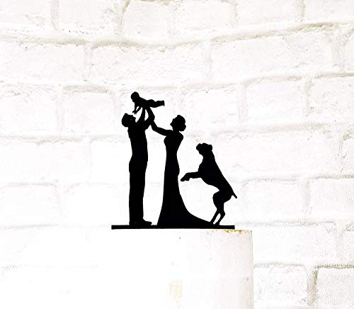Tortenaufsatz für Bräutigam und Boxer mit Familie, Silhouette für Hochzeitstorten -