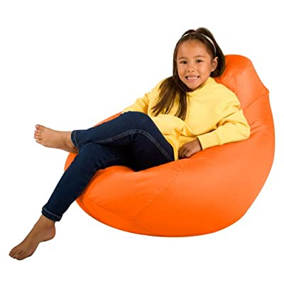 Bean Bag Bazaar Kids Gaming Chair - Large, 80cm x 70cm - Childrens Indoor Outdoor BeanBag (Orange, 2)