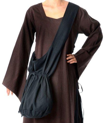 Mittelalter Umhänge-Tasche braun schwarz rot grün blau beige Baumwolle/Leinenlook Mittelalterliche Kleidung (one size, schwarz)