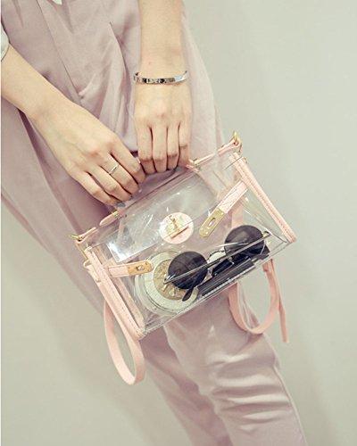 Donna Mini Sacchetto Trasparente Borse A Spalla / Borse A Mano / Borsa Baguette / Borse A Secchiello / Borse A Tracolla / Borse Tote / Borse Bowling Rosso Pink