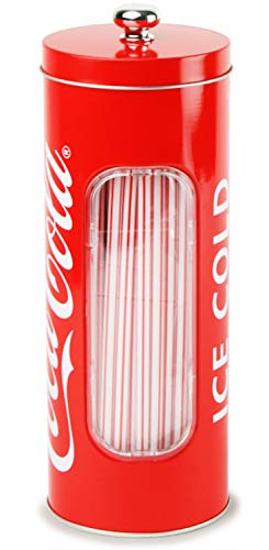 Coca Cola Retro Straw Dispenser with 50 Straws