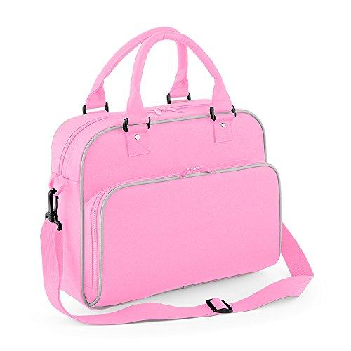 Junior Dance Bag Schultertasche Tragetasche Freizeittasche Fitnesstasche Girlybag Mädchensporttasche mit Namen und Wunschmotiv (Classic Pink / Lighht Grey) Classic Pink / Light Grey
