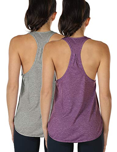 icyzone Yoga Sport Tank Top Damen Racerback Lauftop Fitness Running Shirt Oberteile (L, Grey/Grape)