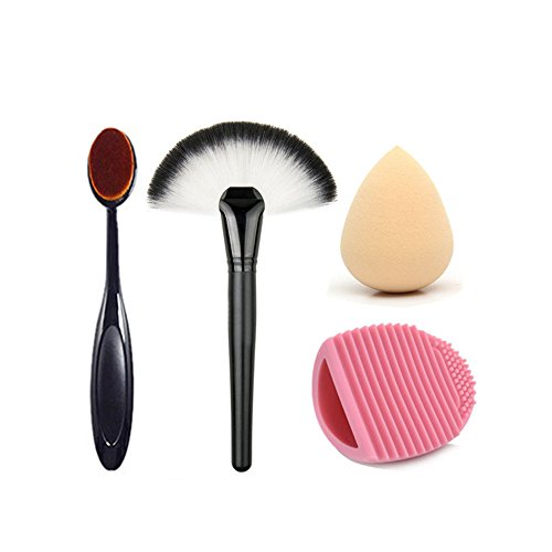 ROPALIA 4pcs pinceau brosse maquillage eponge set