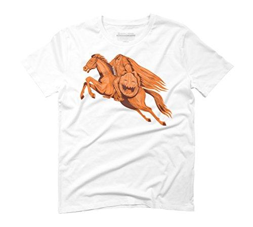 Headless Horseman Pumpkin Head Drawing Men's Small White Graphic T-Shirt - Design By Humans