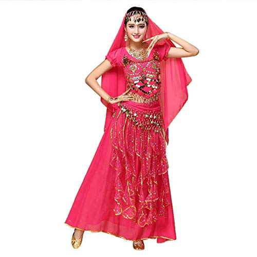 Zolimx Kostüm Damen Indian Dance Bauchtanz Sling Rotating Kleid Kostüme Set Frauen Bauchtanz Outfit Tanzkleidung Top + Rock Sets Bauchtanz Ägypten Tanz