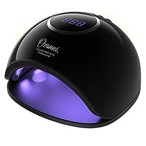 Ovonni Secador de Uñas, Lámpara 48W de LED UV Profesional, Sensor Automático Incorporado, 3 Tipos de Controles de Tiempo, Esmaltes de Gel, Conveniente, Regalo, Viaje, Salón (Negro-Plata)