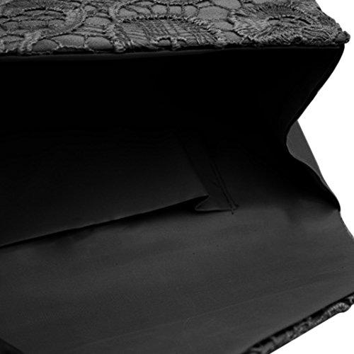 Sasairy 22x12x5cm Donna Pizzo Pochette a Busta Eleganti da Cerimonia Piccolo Mini Sera Borsa della Matrimonio Regalo di Compleanno Viola/Nero/Blu scuro/Bianco Nero