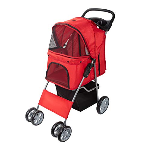 Dawoo Pet Dog Cat Animal Stroller Pushchair Pram Jogger Buggy with 4 Wheels (RED)