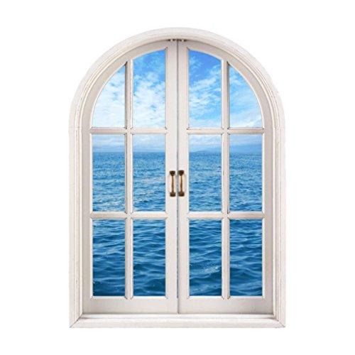 Meer Fenster (Igemy 1 PCS 1242/5000 3D Fenster Meer Aussicht Mauer Aufkleber Herausnehmbar Kunst Abziehbild Wandgemälde Tapete (multicolor))