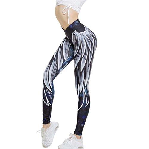 Flachs Beschnitten (Damen Yoga Hose,Sonnena Flügel gedruckt Yoga Skinny Workout Leggings Fitness Sport beschnitten Hosen& Pants Polyester/Patchwork/Satin/Elastic Taille/gefaltet/Bleistift Hosen/europäische und amerikanische Art Polyester / Plissee / Solid / Ganzkörperansicht / Skinny / Knöchellänge / Elastische Taille / Satin / 1 * Frauen Hosen (M, Sexy Blau))