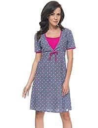 Dn-Nightwear TCB.4044 Camisón Maternal Con Original Estampado - Hecho En La UE