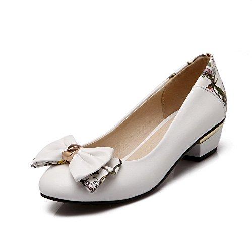 AgooLar Femme Tire à Talon Bas Pu Cuir Couleurs Mélangées Rond Chaussures Légeres Blanc