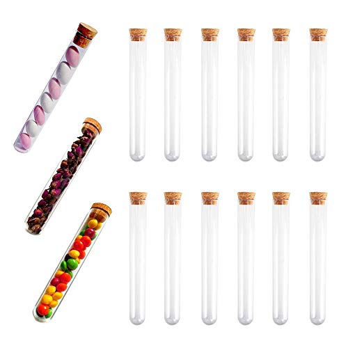KINDPMA 15 Stück Reagenzgläser Kunststoff Reagenzglas mit Korken Reagenzgläschen 30ml Reagenzröhrchen Reagenzgläser für Blumen M&M Mandeln Badesalz Gewürze
