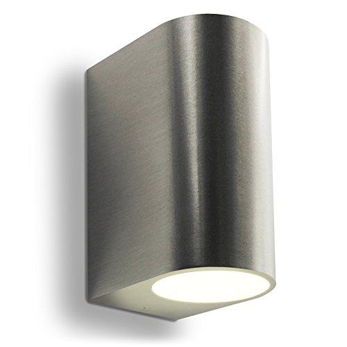 LED Wandleuchte Außenleuchte 2-Flammig Aluminium Up&Down Edelstahl gebürstet GU10-230V (Form:C) (Warmweiß)