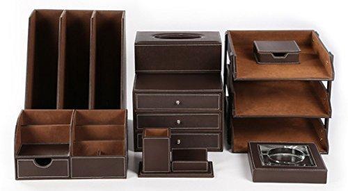 KINGFOM™ 8pcs Leder Schreibtisch Organizer Set -- Inklusive Schreibtisch Organisator , Schubladenbox, Briefablage , Kosmetiktücherbox , Zeitschriftensammler Halter , Aschenbecher,Stifthalter mit Visitenkartenhalter und Zettelbox (T01-Braun) -