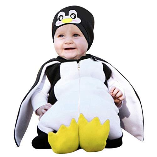 Longzjhd Kinder Tierkostüme Jungen Mädchen Unisex Kostüm Outfit Cosplay Kinder Strampelanzug Karikatur Pinguin Spielanzug Schuhwerk Outfits Tanz Rave Für Festival (Schwarz 2, 90/12-18 Monate)