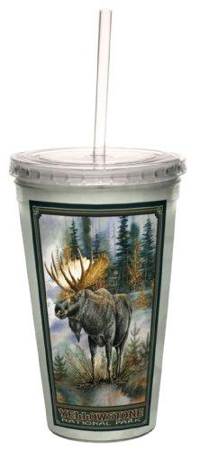 owstone National Park Elch von David bartholet Künstlerische Traveler doppelwandige Cool Cup mit Stroh, 473ml ()