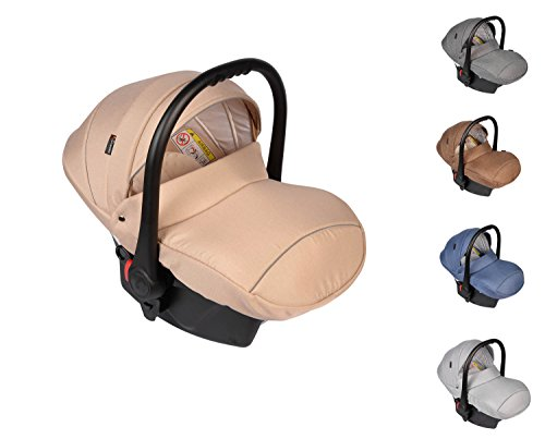 Preisvergleich Produktbild Clamaro 'JUNO 2017' - Auto Babyschale ultraleicht 2,95 kg mit Anti-Shock Schaumstoff, Gruppe 0+ (0-13 kg) 2017er ECE-R 44/04 Prüfsiegel, stark schockabsorbierend - Baby Autositz Set inkl. extra Polster für Neugeborene (herausnehmbar), Sonnenverdeck und Fußabdeckung, Isofix Vorbereitung (ISOFIX Base optional separat erhältlich) - Farbe: Beige Leinen