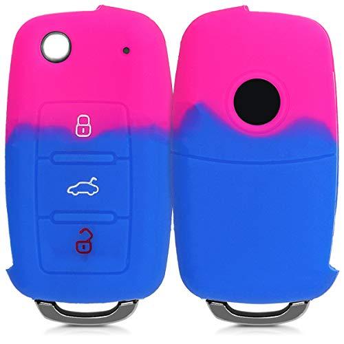 kwmobile Autoschlüssel Hülle für VW Skoda Seat - Silikon Schutzhülle Schlüsselhülle Cover für VW Skoda Seat 3-Tasten Autoschlüssel Pink Blau (Seat Cover Auto)