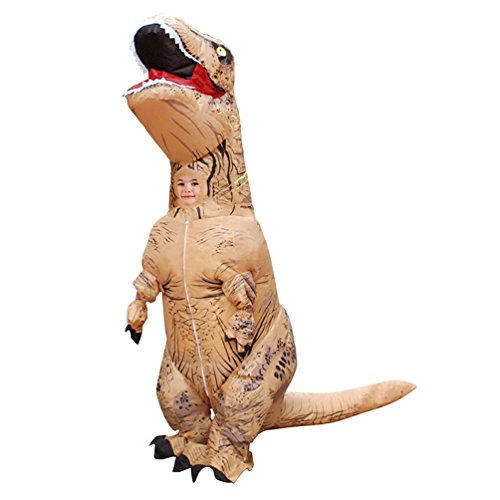 Triseaman Aufblasbarer Dinosaurier T-REX Kinder Halloween Kostüm Cosplay Braun