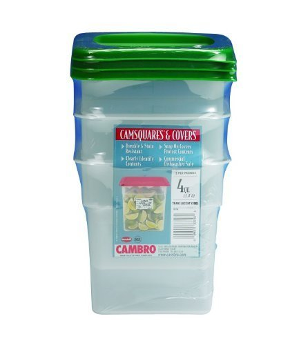 Cambro Set of 3 Square Food Storage Containers with Lids, 4 Quart by Cambro Square Food Storage Set