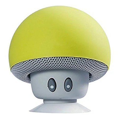 Hipipooo Mini Pilz Portable Wireless Bluetooth V2.1 Lautsprecher und Handy Support Halter mit Saugnapf Kompatibel mit iPad, iPhone, Android Handys, Laptop (Gelb)