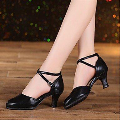 XIAMUO Anpassbare Damen Tanz Schuhe Kunstleder Kunstleder Latin Heels Cuban Heel Professional Schwarz/Rot/Silber/Gold Gold