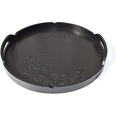 Dillman bandeja platos de madera natural servidor plato redondo de madera placa circular tallada bandeja bandeja de