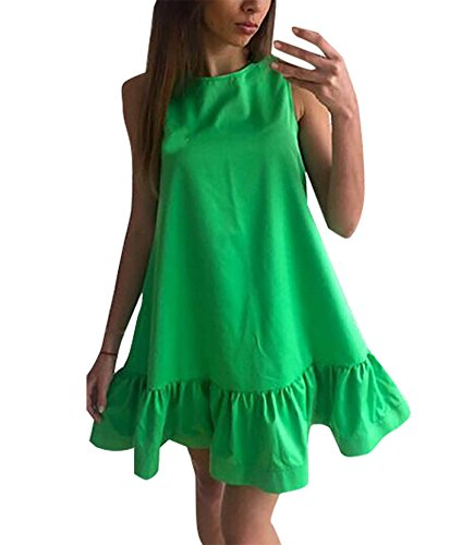Damen Beiläufigen Strand Freizeitkleid Cocktailkleid Mini Ballkleid Ballonkleider Locker Kleid Normallacks Sommer A-linie (EU36-M, Grün) (60er-jahre-smoking)