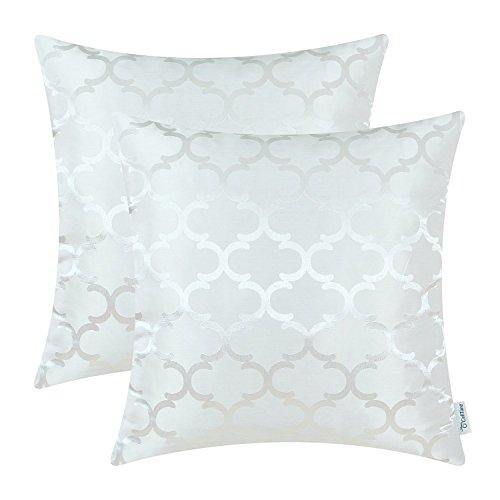 2 Stück Calitime Überwurf Kissenbezüge Beide Seiten, Geometrische 45cm X 45cm Weiß
