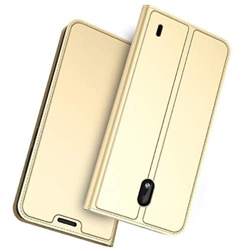 fitmore Nokia 1 Plus Wallet Hülle Case, Slim PU Leather Cover Stand and Card Holders Wallet Hülle Case Cover Protect Protective Hülle Case Compatible with Nokia 1 Plus -Golden (Switch Custom Light)
