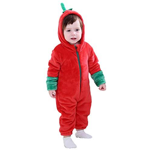 LSERVER Mameluco de Cosplay para Bebés Recién Nacidos Ropa de Arrastre Disfraz Unisexo de Franela con Capucha Estilo Animales, Tomate, 70 (Altura Recomendada:59-66cm)