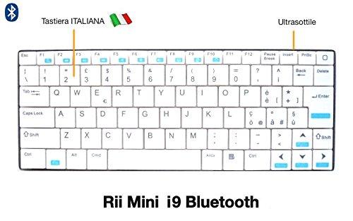 Rii Mini i9Bluetooth-Tastatur für Tablet (italienisches Layout)–Bluetooth, Ultra Slim, Smartphone, Mini PC, Computer, Playstation Bianco