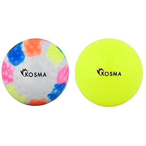 Kosma Satz mit 2 Grübchen Hockey Ball | Outdoor Sport PVC-Praxis Training Bälle (Gelb, Multi, 2er-Set)