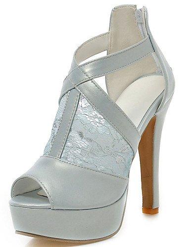 LFNLYX Chaussures Femme-Mariage / Habillé / Soirée & Evénement-Noir / Bleu / Blanc-Talon Aiguille-Talons / A Plateau / Bout Ouvert-Sandales- Blue