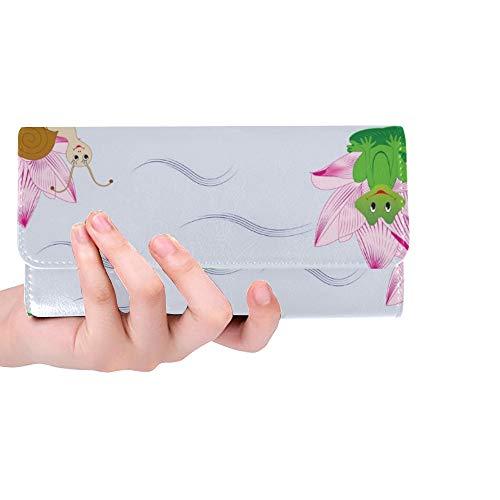 Einzigartige benutzerdefinierte Kinder Schnecken Frösche Schildkröten Frauen Trifold Wallet Lange Geldbörse Kreditkarteninhaber Fall Handtasche - Benutzerdefinierte Handtaschen Aus Leder