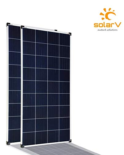 enjoysolar® Poly 100W Polykristallines Solar panel 100Watt ideal für Wohnmobil, Gartenhäuse, Boot ... (Doppelpack)